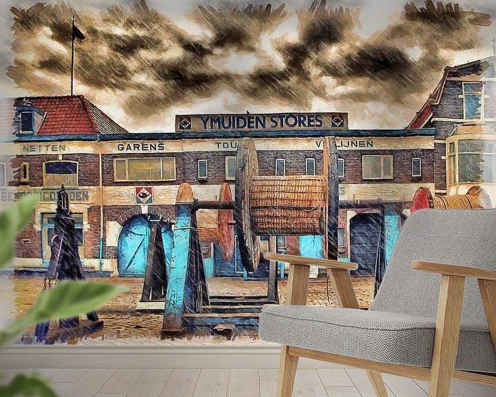 Sfeerimpressie behang: Ymuiden Stores van Michel Derksen