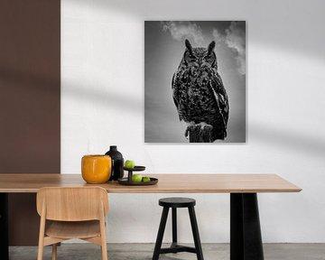 Porträt einer Eule in Schwarz und Weiß von Marjolein van Middelkoop
