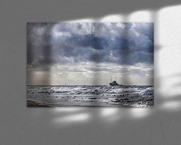 Vissersboot aan de Texelse kust sur Hans Kwaspen