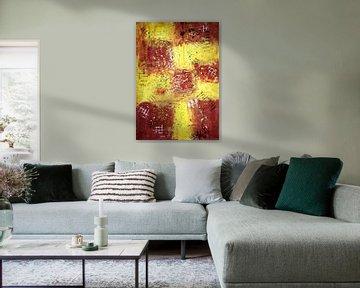 Lignes de quadrillage sur des carrés jaune-brun, I sur elha-Art