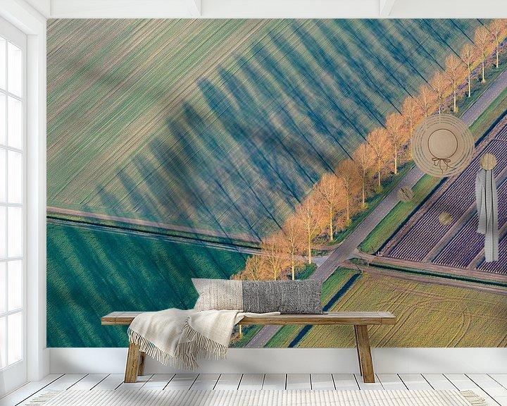 Sfeerimpressie behang: Luchtfoto van abstract landschap in Flevoland van Sjoerd van der Wal