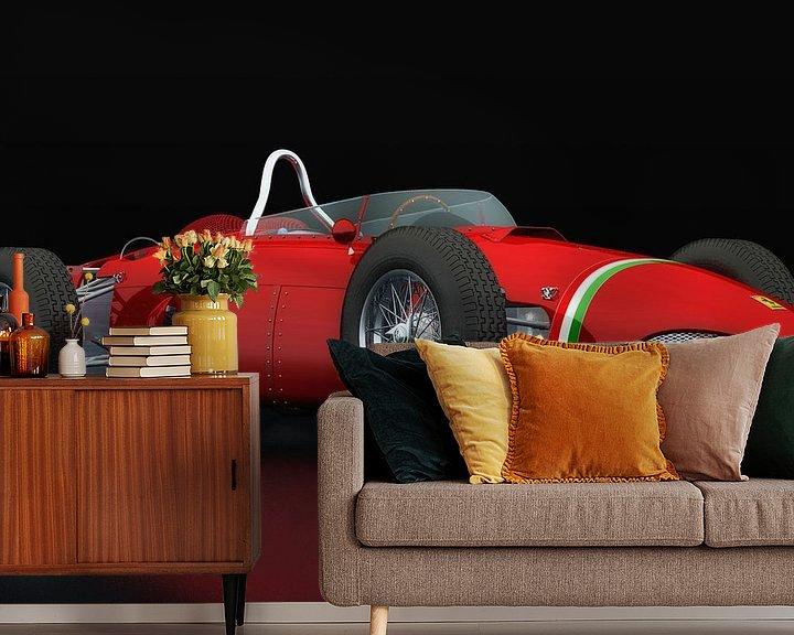 Sfeerimpressie behang: Ferrari 156 Shark Nose driekwart zicht van Jan Keteleer