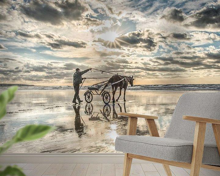 Beispiel fototapete: Reiterin am Strand bei Ault in Nordfrankreich von Harrie Muis