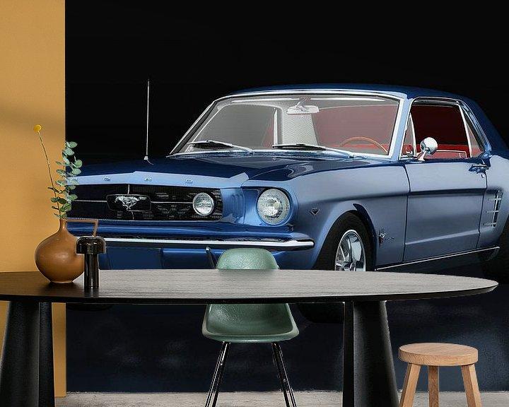 Sfeerimpressie behang: Ford Mustang GT drie-kwart uitzicht van Jan Keteleer