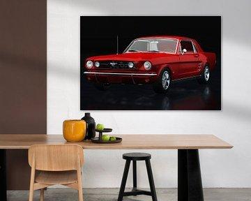 Ford Mustang GT driekwart zicht rood