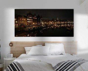 Amsterdam Waalseilandgracht en Kromme Waal. Panorama 2:1 van FotoBob