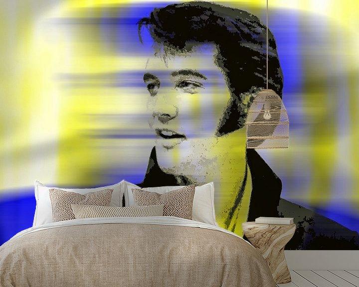 Beispiel fototapete: Elvis Presley Abstrakt Pop Art Porträt in Gelb Blau von Art By Dominic