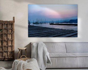 Haventje na zonsondergang  in Italië van Sander van Driel