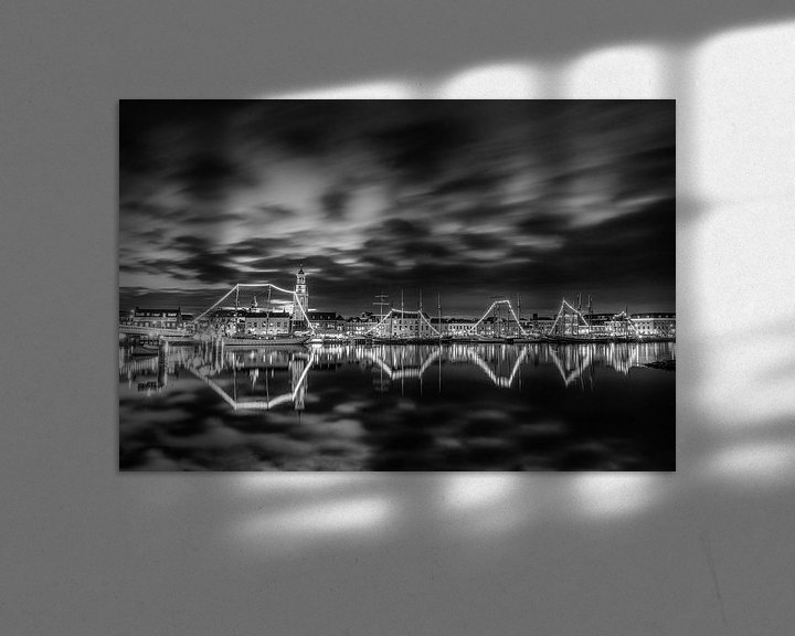 Impression: La ville de Kampen avec la flotte marron en noir et blanc sur Fotografie Ronald