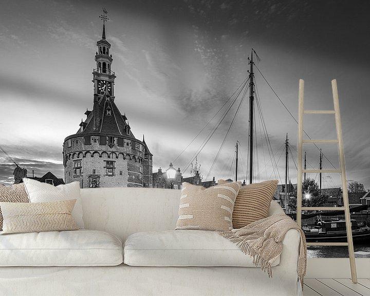 Sfeerimpressie behang: De haven van Hoorn in Zwart-Wit van Henk Meijer Photography