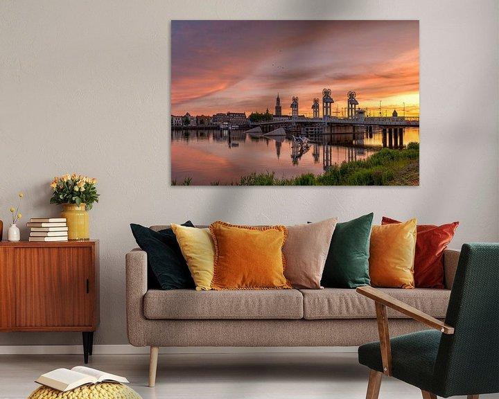 Sfeerimpressie: Stadsbrug Kampen zonsondergang van Fotografie Ronald