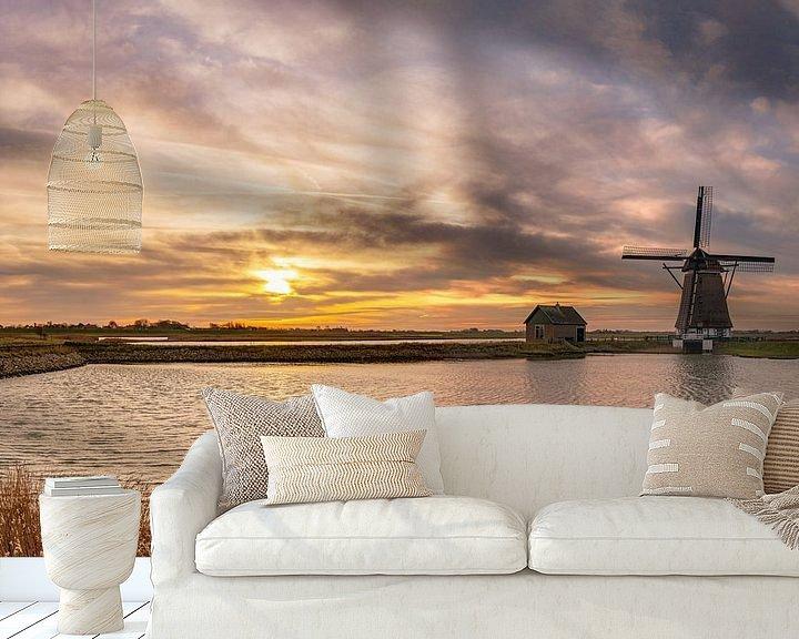 Sfeerimpressie behang: Molen Het Noorden Texel kleurige zonsondergang van Texel360Fotografie Richard Heerschap