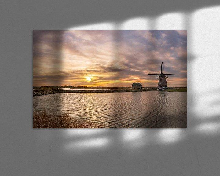 Sfeerimpressie: Molen Het Noorden Texel kleurige zonsondergang van Texel360Fotografie Richard Heerschap