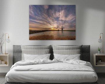 Molen Het Noorden Texel kleurige zonsondergang van Texel360Fotografie Richard Heerschap