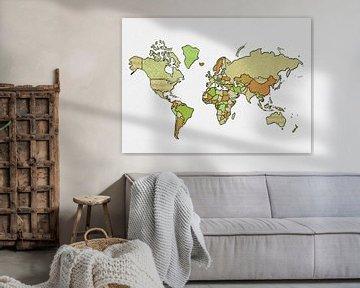 Weltkarte (umrandet, grün) von Studio Malabar