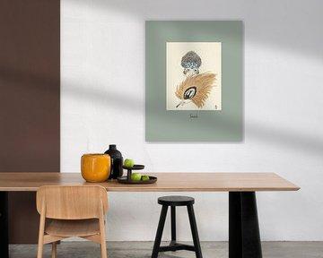 Timid - Art Deco Frau hinter großem Fächer, Boho, schick von NOONY