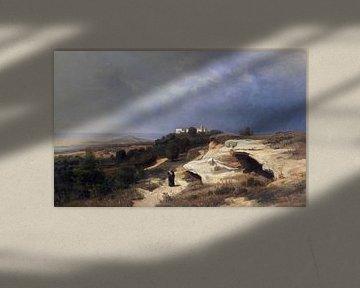 Campagna, Landschaft mit wanderndem Mönch, OSWALD ACHENBACH, 1850