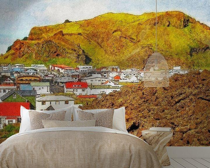 Sfeerimpressie behang: Nieuw Pompeï, Heimaey, IJsland van Frans Blok