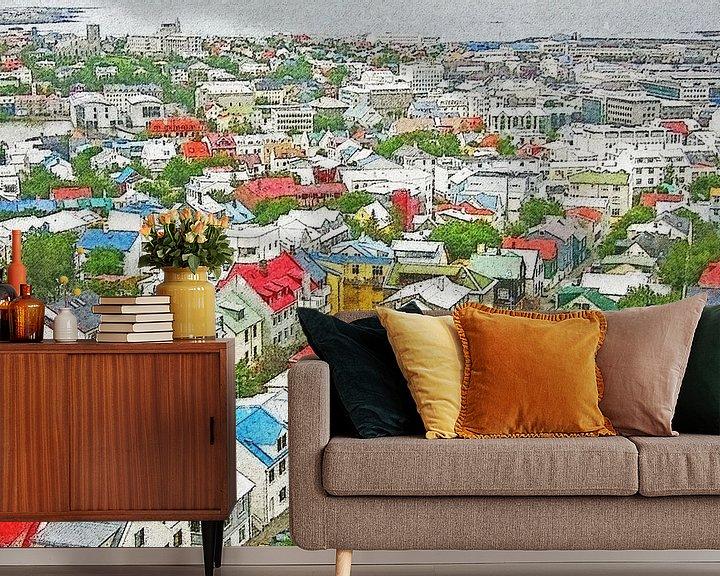 Sfeerimpressie behang: Downtown Reykjavik, IJsland van Frans Blok