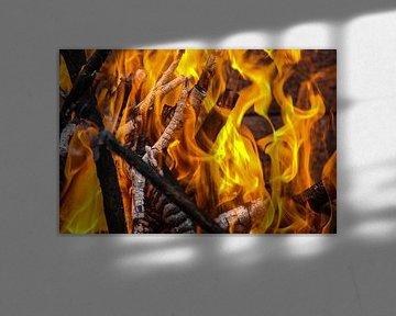 Hintergrund, Textur mit lodernden orangen Flammen von Reiner Conrad