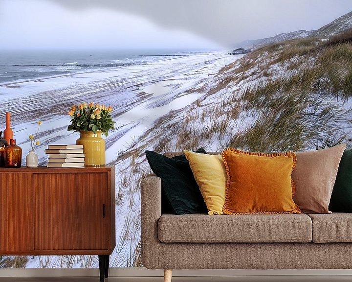 Sfeerimpressie behang: Sneeuw op de Zeeuwse kust van Sander Poppe