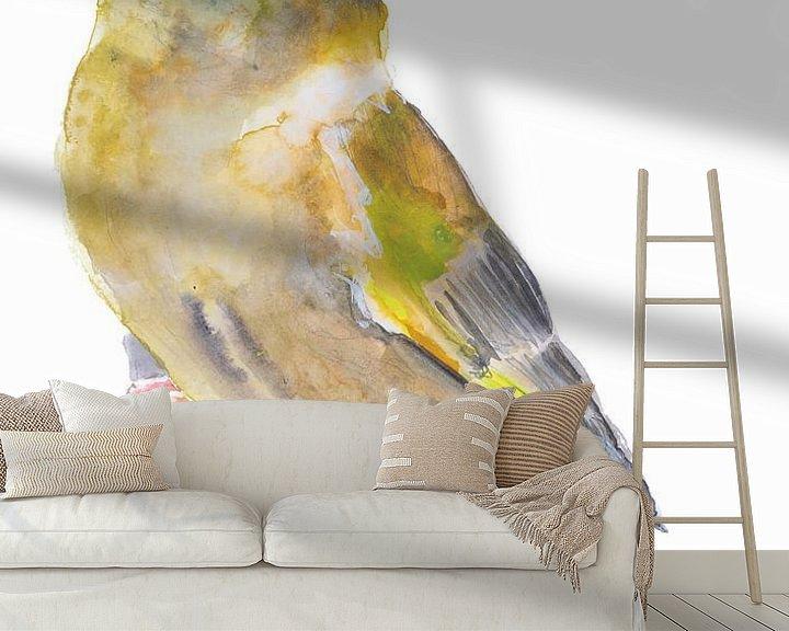 Beispiel fototapete: Der Grünfink Vogel Illustration von Angela Peters