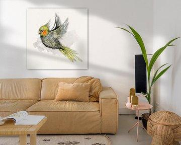 Fliegender Nymphensittich Aquarell von Bianca Wisseloo