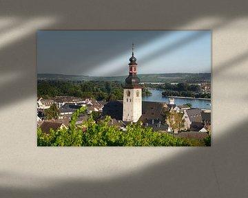 Gezicht op de oude stad met de katholieke parochiekerk St. Jakobus, R�desheim am Rhein, Rheingau, He van Torsten Krüger