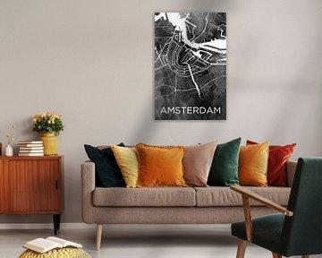 Amsterdam | Stadskaart op zwarte aquarel
