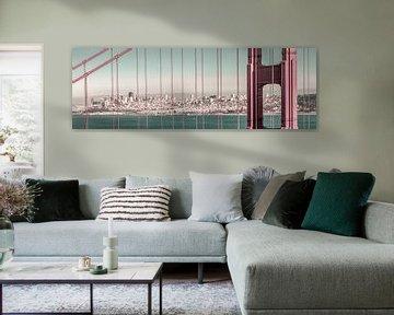 Golden Gate Bridge Panorama | stedelijke vintage stijl van Melanie Viola