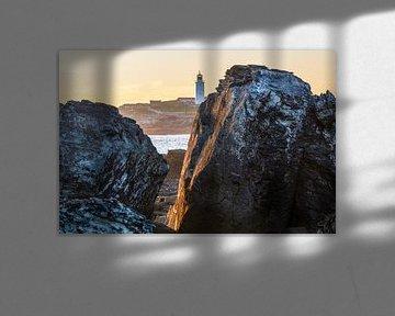 Zonsondergang vuurtoren Godrevy (England) van Marcel Kerdijk