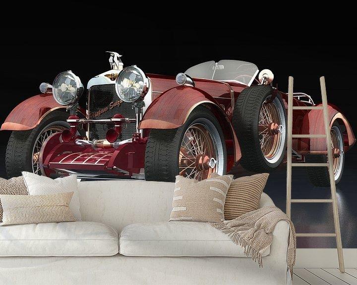 Sfeerimpressie behang: Hispano Suiza H6 Tulipwood driekwart zicht van Jan Keteleer