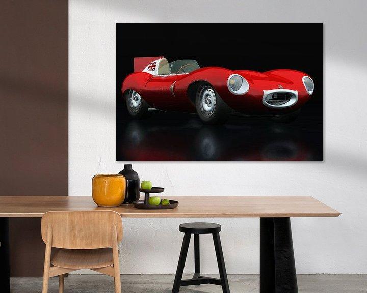 Sfeerimpressie: Jaguar Type D 1956 Rood driekwart aanzicht van Jan Keteleer