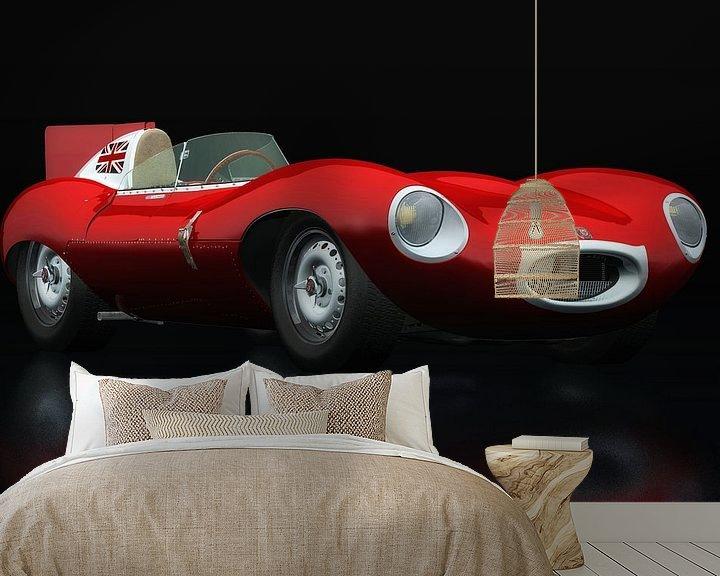 Sfeerimpressie behang: Jaguar Type D 1956 Rood driekwart aanzicht van Jan Keteleer