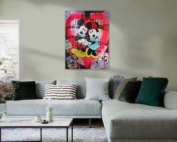 """Mickey und Minnie Maus """"Rosa Herz"""" von Kathleen Artist Fine Art"""