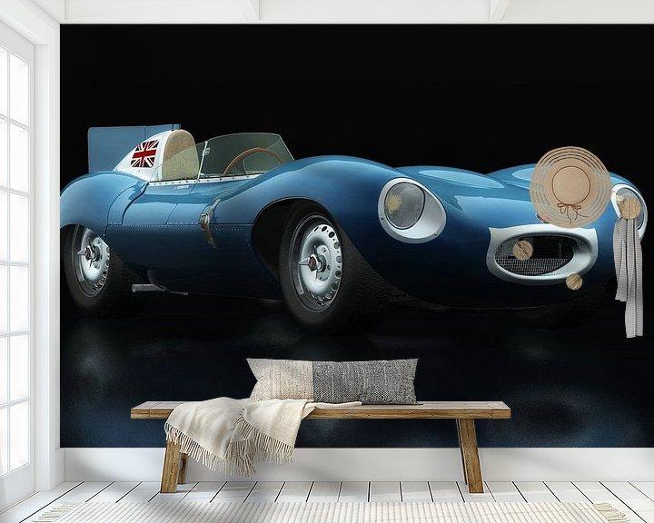 Sfeerimpressie behang: Jaguar Type D 1956 driekwart aanzicht van Jan Keteleer