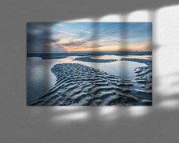 Zonsondergang strand bij Burgh-Haamstede van Jan Poppe
