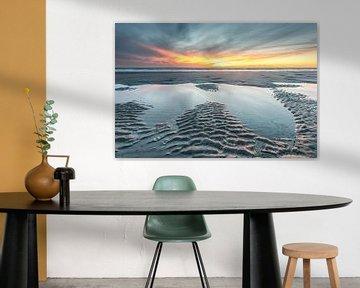 Zonsondergang strand Burgh-Haamstede van Jan Poppe