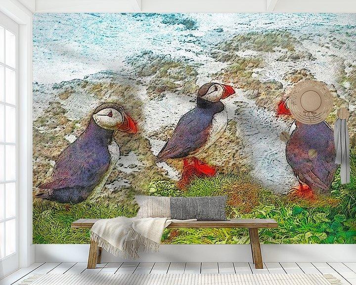 Sfeerimpressie behang: Papegaaiduikers op Papey, IJsland van Frans Blok