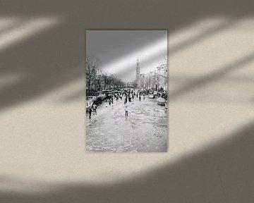 Winter in Amsterdam (Schlittschuhlaufen auf den Grachten, Prinsengracht) von Quinten Tolboom