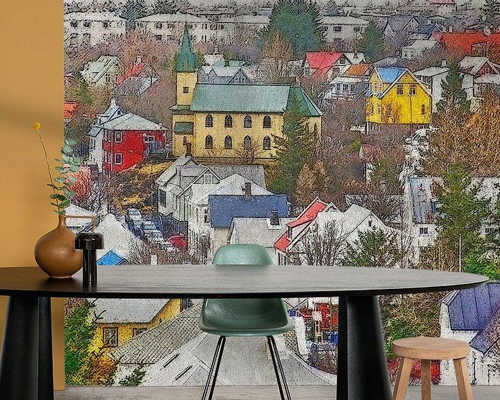 Sfeerimpressie behang: Downtown Hafnarfjordur, IJsland van Frans Blok