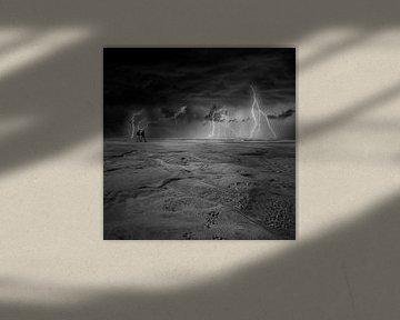 Gewitter am Strand von Petten von Martin van Lochem