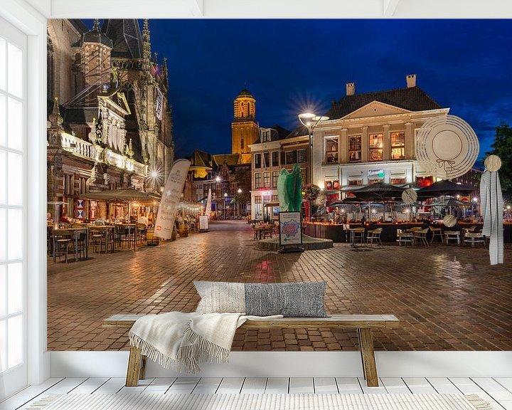 Sfeerimpressie behang: Grote Markt Zwolle van Fotografie Ronald
