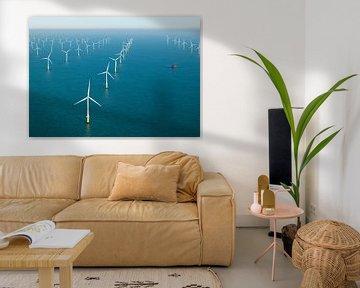 Windpark op het Belgische deel van de Noordzee van Sky Pictures Fotografie