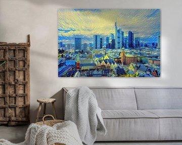 Schilderij Frankfurt: skyline Frankfurt in de stijl van Van Gogh