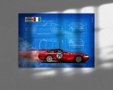 Daytona 365 GTB/4 Blauwdruk van Theodor Decker