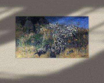 Fliehende Zebras, WILHELM KUHNERT, 1911-1916