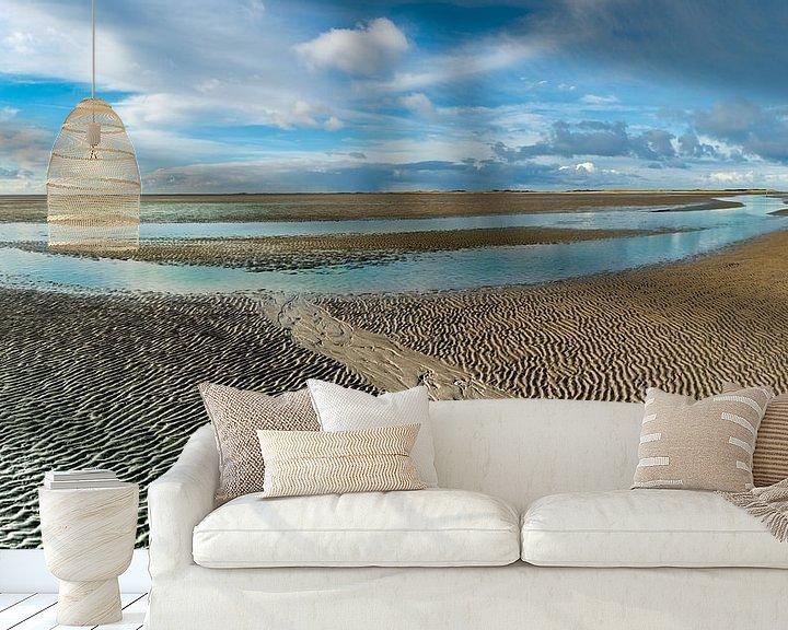 Beispiel fototapete: Riss im ausgetrockneten Wattenmeer von Jan Huneman