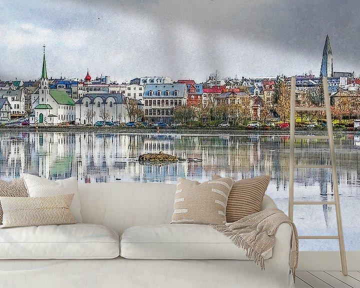 Sfeerimpressie behang: Tjörninmeer, Reykjavik, IJsland van Frans Blok