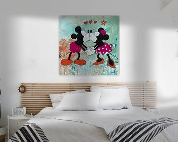 """Mickey und Minnie Maus """"Grün"""" von Kathleen Artist Fine Art"""